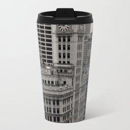 Wrigley Building Chicago Black and White Photo Travel Mug