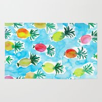 pineapples Area & Throw Rugs featuring Pineapples by Barbarian // Barbra Ignatiev