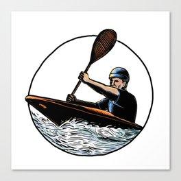 Kayak Paddler Canoe Scratchboard Canvas Print
