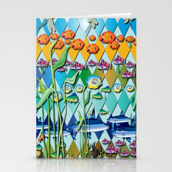 Rendition of a Fish Pattern Stationery Cards