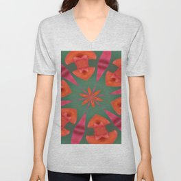 Succulent Red and Yellow Flower Abstract I Unisex V-Neck