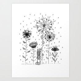 Bunny in flowers Art Print