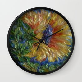 Sunflower  Decorative Painting by OLena Art Wall Clock