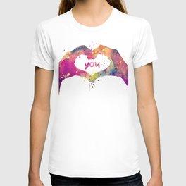 Heart Watercolor Art Print Love Hands Valentine's Day T-shirt