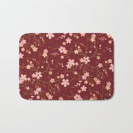 Red Sakura Batik Bath Mat