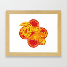 Rooster fire Framed Art Print