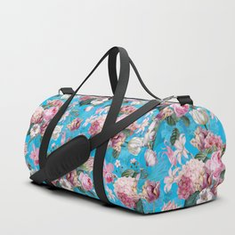 Vintage & Shabby Chic - Pastel Roses and Blush Orchid Flower Meadow Duffle Bag