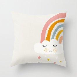 Rainbow, Abstract, Mid century modern kids wall art, Nursery room Throw Pillow