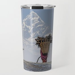 WOOD CARRIER AND MACHAPUCHARE IN NEPAL Travel Mug