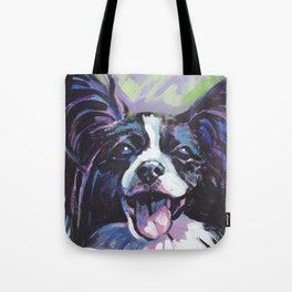 Papillon Fun Dog bright colorful Pop Art Painting by LEA Tote Bag