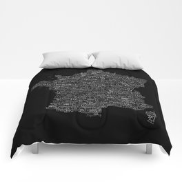 Typographic France Map Comforters