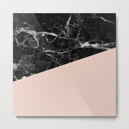 Black marble and pale dogwood color Metal Print