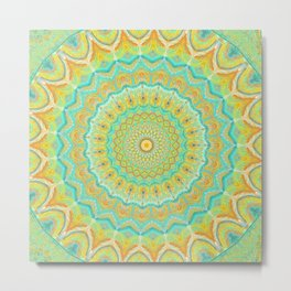 Citrus Burst - Mandala Art Metal Print