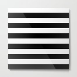 Black & White Stripes- Mix & Match with Simplicity of Life Metal Print