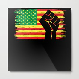 Juneteenth USA Flag African American Black Freedom Metal Print
