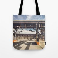 pocket fuel Tote Bags featuring Fuel Station by Dave Rasura