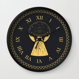 Retro design of flying ufo ship and human silhouette Wall Clock