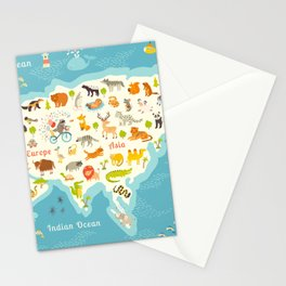 The most detailed animals world map, Eurasia. Also, birds, ocean life, reptiles, and mammals. Beauti Stationery Cards