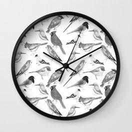 Black and white birds against white graphite artwork Wall Clock