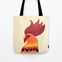 cock Tote Bags featuring Cock by Volkan Dalyan