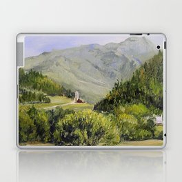 Pastures and Mount Mansfield Oil Landscape Vermont Painting Laptop & iPad Skin