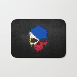 Flag of Philippines on a Chaotic Splatter Skull Bath Mat