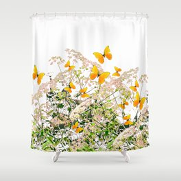 WHITE ART GARDEN ART OF YELLOW BUTTERFLIES Shower Curtain