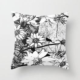 Noir Sunflower Explosion Zoom Throw Pillow