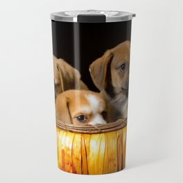 Pumpkin Basket Filled with Two Puggle Puppies and a Beaglier Puppy for Halloween Travel Mug