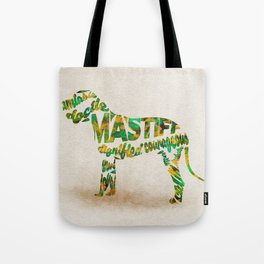 Mastiff Dog Typography Art / Watercolor Painting Tote Bag