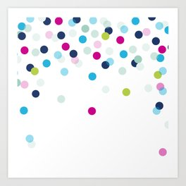 CUTE CONFETTI SPOTS - bright colorful - pink, aqua blue, mint, navy Art Print