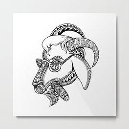 Goat Cigar Tribal Tattoo Style Metal Print
