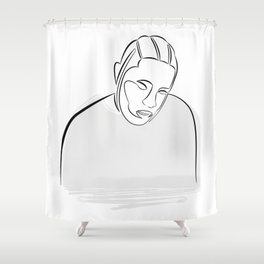 Kendrick Lamar portrait (black on white) Shower Curtain
