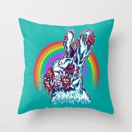 Zombie Rabbit Throw Pillow