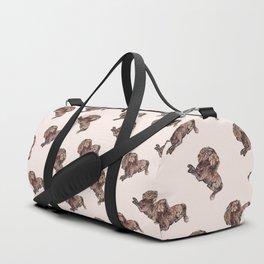 Dog Pattern 2 on Girly Pink Duffle Bag