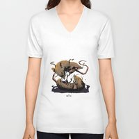 rat V-neck T-shirts featuring rat fight by antoniopiedade