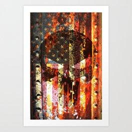 Skull on Rusted American Flag Art Print