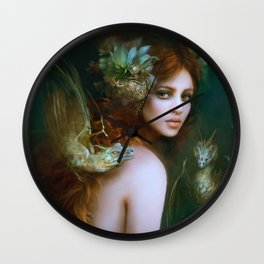Mint & Roses - Girl with dragons Wall Clock