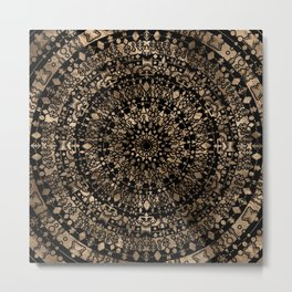 Ethnic Tribal Mandala Black and Gold Metal Print