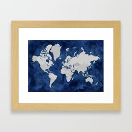 Dark blue watercolor and grey world map Framed Art Print