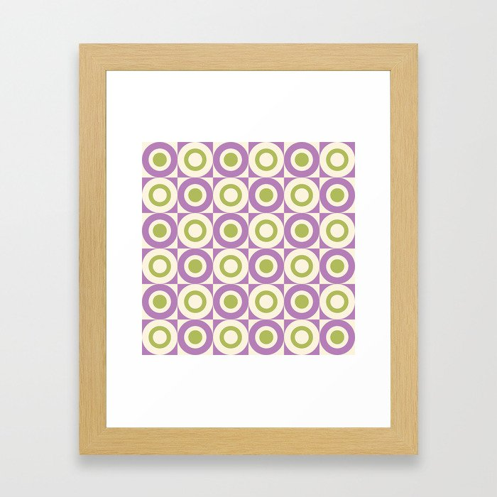 Mid Century Square and Circle Pattern 541 Lavender and Chartreuse Framed Art Print