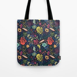 Navy Vintage Floral // Hand Drawn Funky Flowers, Bright & Cheery Tote Bag
