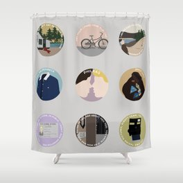 PHILKAS: A MINIMALIST LOVE STORY Shower Curtain