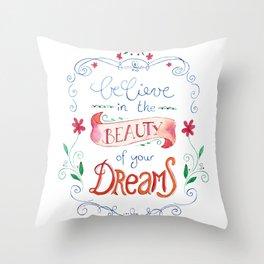handlettering believe  Throw Pillow