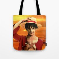 luffy Tote Bags featuring Monkey D. Luffy real style by Shibuz4
