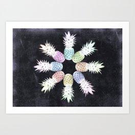 Chalkboard Pineapples Art Print