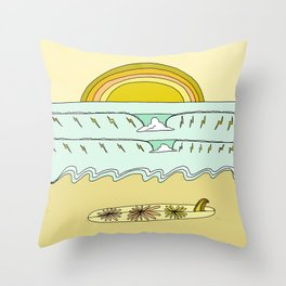 keep it simple // single fin // retro surf art by surfy birdy Throw Pillow