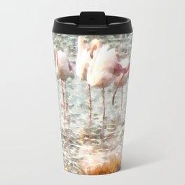 Six Flamingos A Wading Watercolor Travel Mug