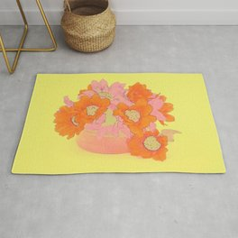 Orange and Pink Flowers Rug