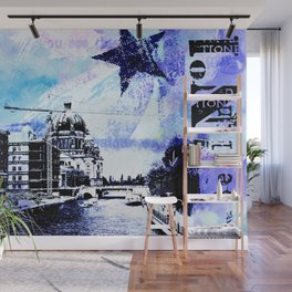 Berlin urban blue mixed media art Wall Mural